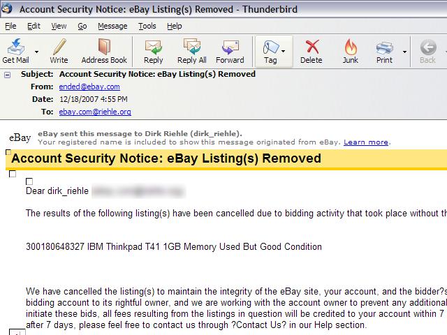 Dirk Riehle Elaborate Ebay Xmas Scam
